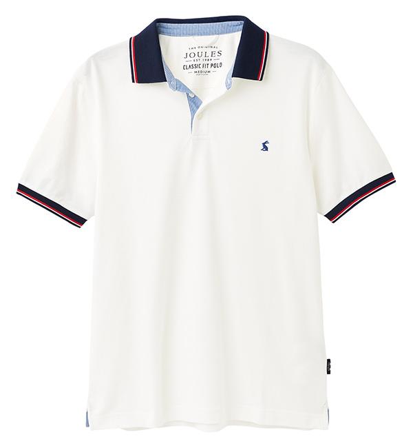 Joules Mens Hanfield Posh Polo Shirt - White