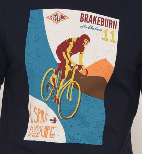 Brakeburn Bike Poster T-Shirt - Navy Design BBMSST003071