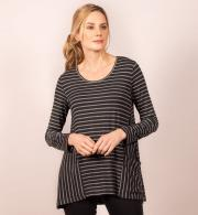 Capri-Clothing-Striped-Top-With-Pockets---Charcoal