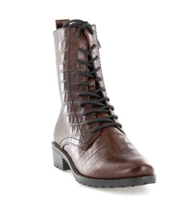 Caprice-Croc-Effect-Lace-Boot-Cognac-Croco