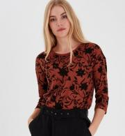 Fransa-Womens-Frleflower-Jersey-Top-Barn-Red-Mix
