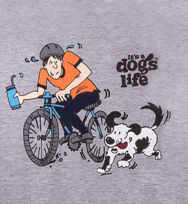 Its a Dogs Life Mens T-Shirt Bike - Sport Grey Detail