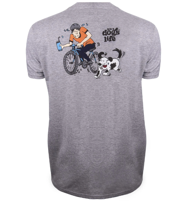 Its a Dogs Life Mens T-Shirt Bike - Sport Grey