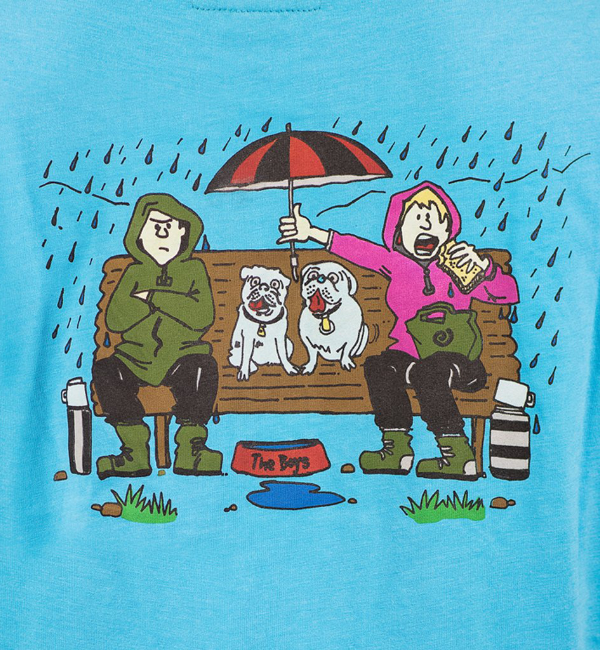 Its a Dogs Life Womens T-Shirt Boys on The Bench - Turquoise Detail