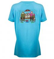 Its a Dogs Life Womens T-Shirt Boys on The Bench - Turquoise