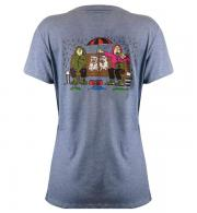 Its a Dogs Life Womens T-Shirt Boys on the Bench - Heather Indigo