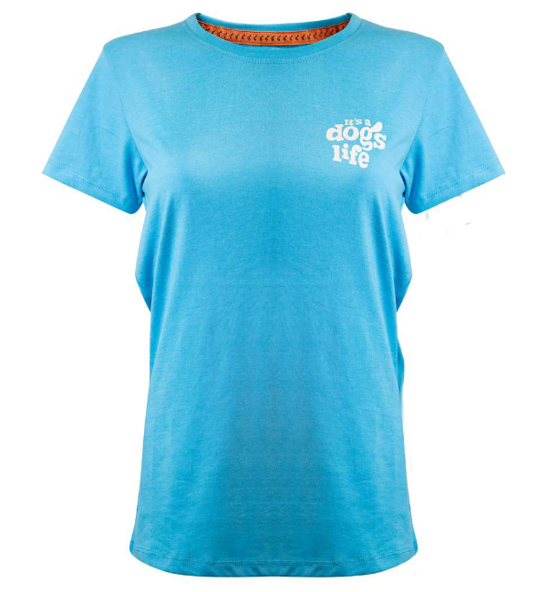 Its a Dogs Life Womens T-Shirt Boys on the Bench - Turquoise Front