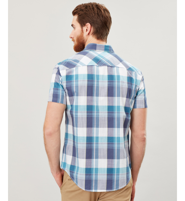 Joules Wilson Classic Fit Shirt - White Green Check 206984 Back