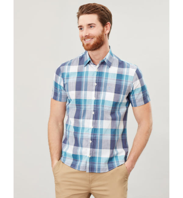 Joules Wilson Classic Fit Shirt - White Green Check 206984 Model