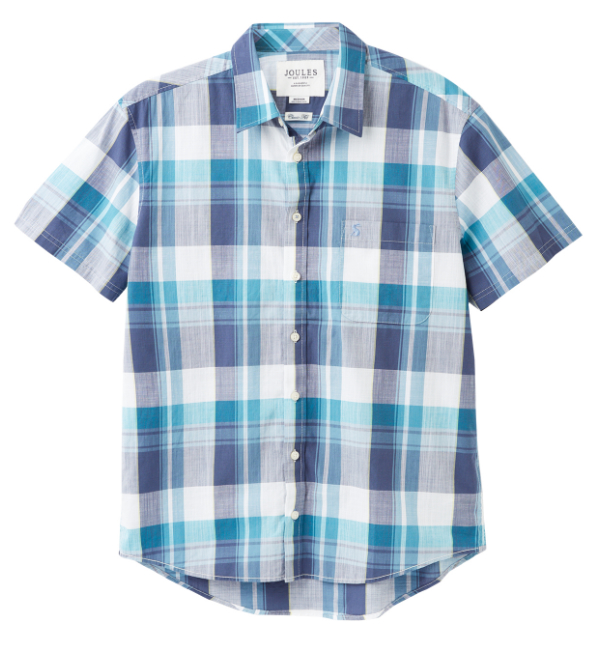 Joules Wilson Classic Fit Shirt - White Green Check 206984