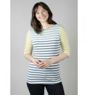 Lily & Me Monica Top Engineered Stripe - Teal LM7020