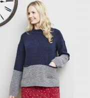 Lily-&-Me-Womens-Hygge-Colour-Block-Jumper-Navy-Grey