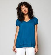 Nomads VL4059 Cap Sleeve Double Layer Top - Teal Front
