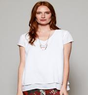 Nomads VL4059 Cap Sleeve Double Layer Top - White Front