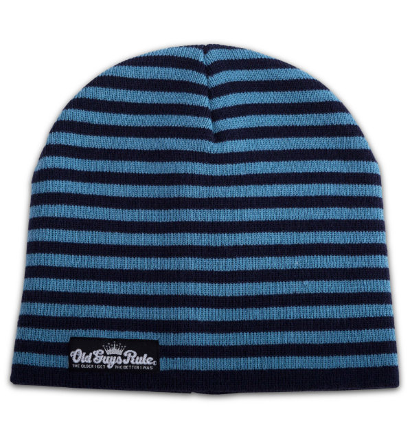 Old Guys Rule Beanie Striped Navy Blue