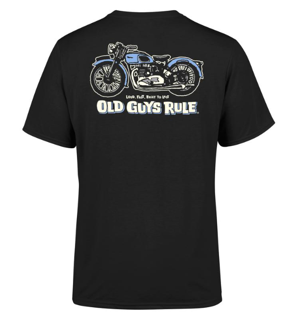 Old Guys Rule T-Shirt Triumph Back Print - Black OG5168