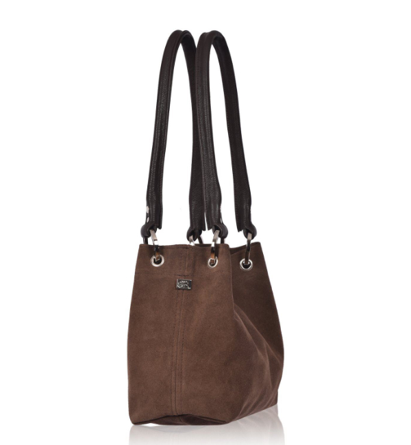 Owen Barry Pepsi Suede Shoulder Bag - Mocha Side