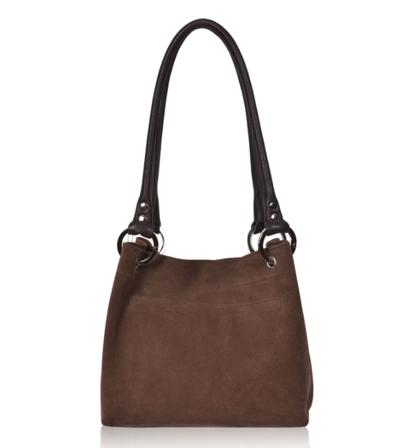 Owen Barry Pepsi Suede Shoulder Bag - Mocha