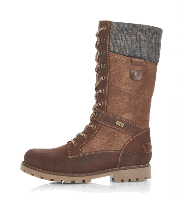 Remonte-Womens-Santana-Wool-Cuff-Lace-Up-Boot-Sattel-Brown