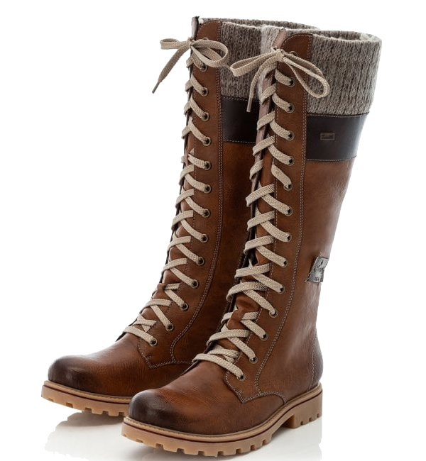 Rieker-Womens-Long-Lace-Up-Knit-Cuff-Boot-Muskat-Brown
