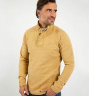 Weird-Fish-Landeron-Marl-Button-Neck-Sweatshirt---Mustard