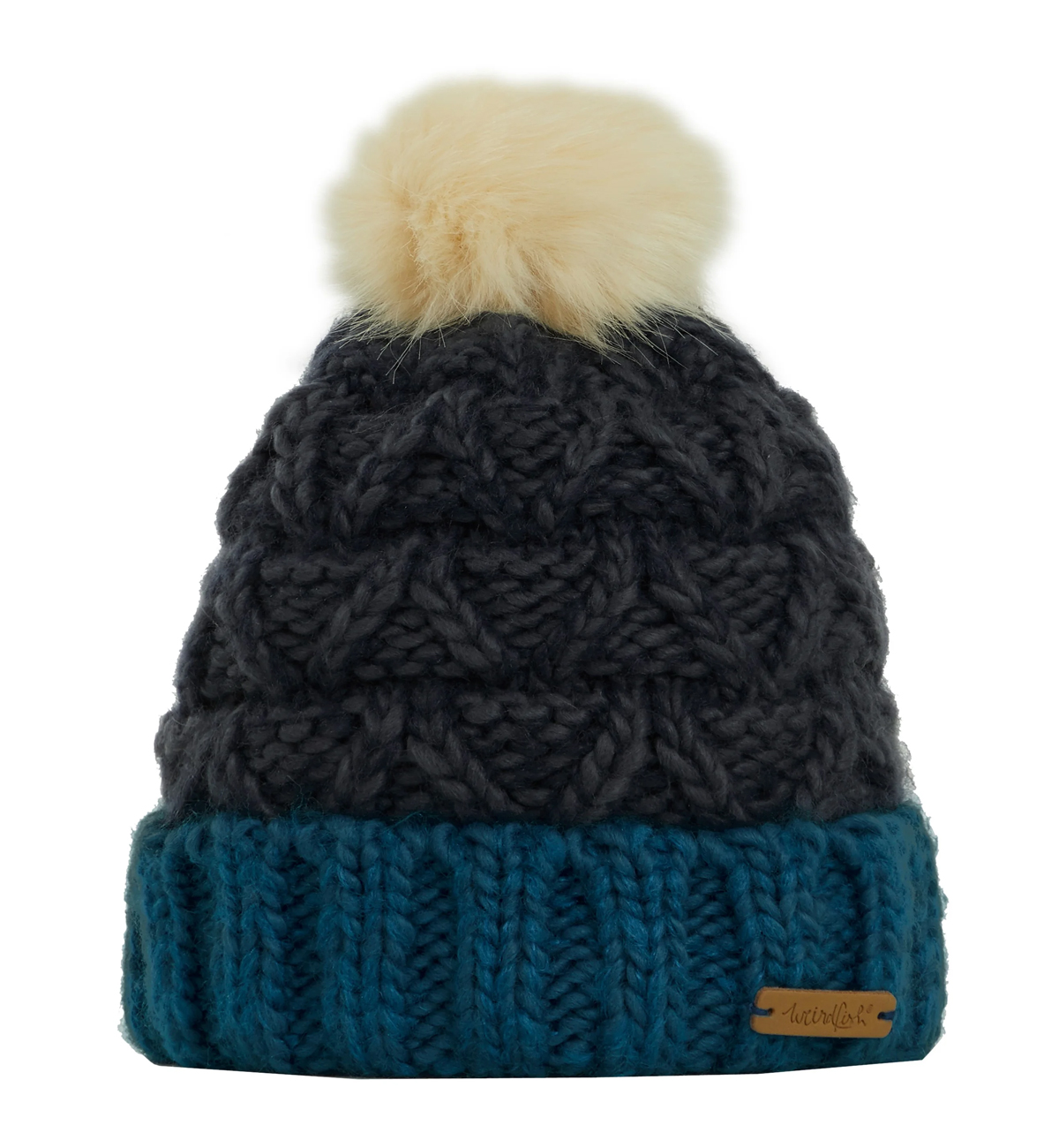 Weird-Fish-Womens-Livvy-Textured-Bobble-Hat-Navy-flat-front.jpg