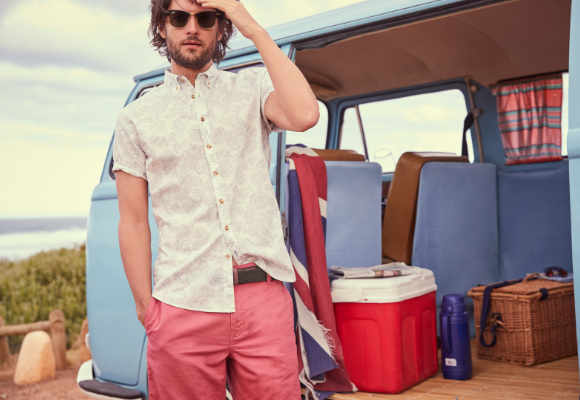Man wearing Joules stood next to a camper van