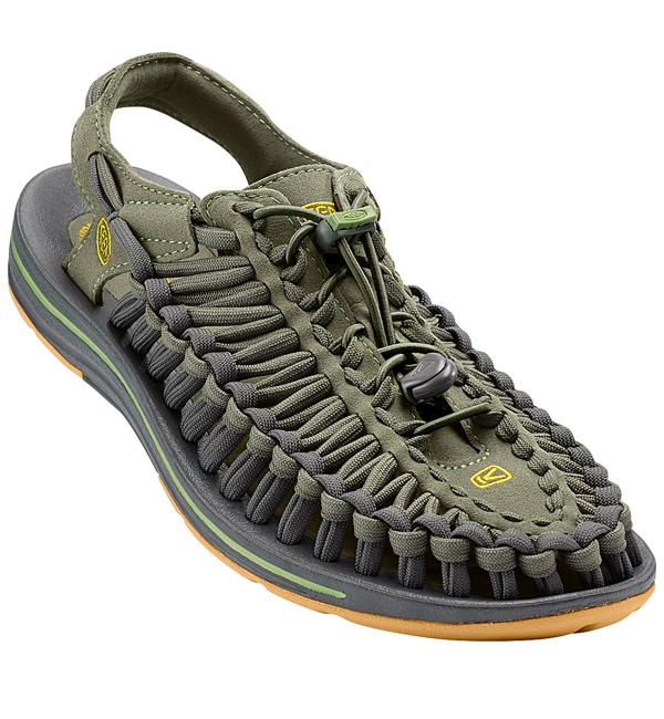 ff5a43f9abb Keen Mens Uneek Flat Sandal - Deep Lichen/Golden Yellow