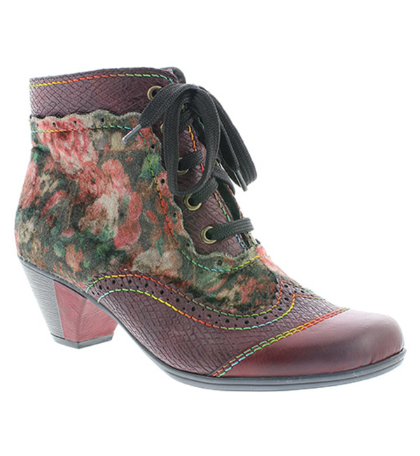 bc657d9590b99 Rieker Womens Eagle Heeled Lace Up Ankle Boot - Wine